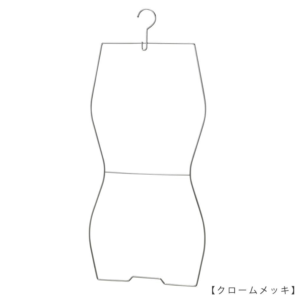 ●水着ハンガーSMW-02F-34 正面画像 ●表面処理:クロームメッキ ●素材:スチール ●フック固定式 ●スタンダードな形状の水着用ハンガーです。腰の位置に補強材として横バーを入れてありますので、テンションの高い競泳用の水着ハンガーにも対応しています。 ●日本製