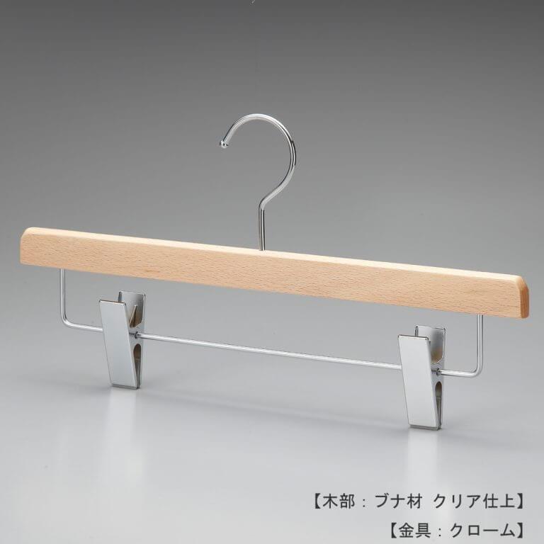 ●ハンガー正面画像 ●型番:TY-35 ●材質 木部:ブナ材 クリア半ツヤ仕上 金具:クロームメッキ(CR) ●ボトムス用 ●フック:回転式 ●通常のボトムハンガーよりも一段下の位置でパンツ等を吊るすことのできるデザインです。