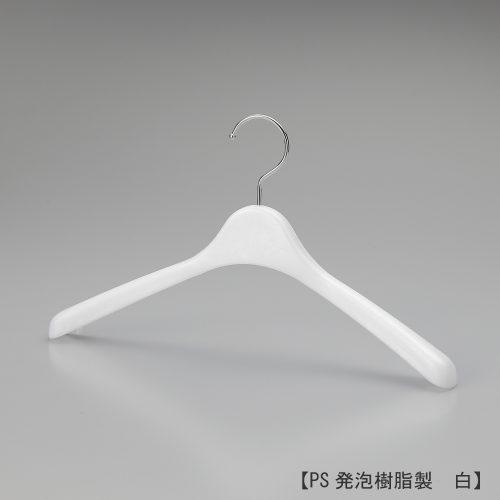 レディス用ハンガー正面画像/型番:TYHG373/素材 本体:PS発泡樹脂 フック:スチール/前肩カーブ仕様、横幅370mm、肩先の厚み30mm、タイト目に仕立てられた洋服に適した寸法です。フック根元のフェイス部が丸頭形状の為、洋服をかけた際にカジュアルな印象を与えます。フックはクロームメッキ仕上げのスチール製。/日本製