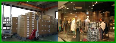 路面店、テナント、百貨店、ブブティックのアパレル店へ納品