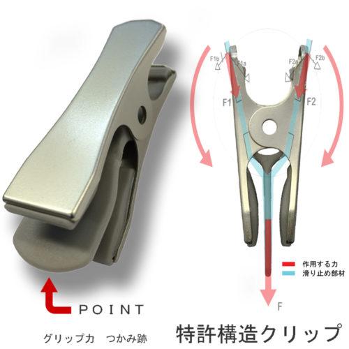 タヤクリップ/OM-BT-004-01/衣類の落ちようとする力をクリップが閉まる力に変換する構造を持つタヤクリップ。グリップ力に優れながらも衣類にクリップ跡が付きにくい、相反する機能を併せ持つ当社自信作の特許取得ピンチ。/特許番号 日本:3878961 中国:709363 米国:US8061569B2 ロシア:RU2406791C2 EU:出願中