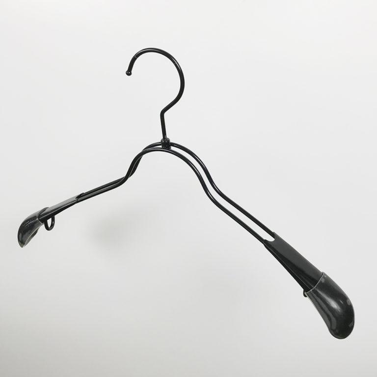 アウトレットハンガー #1053 (在庫限り品) レディスサイズスチールハンガー 横幅380mm肩厚30mm 黒電着塗装仕上【8本セット】