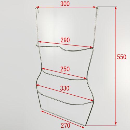 木製ハンガー用立体ブランコ 寸法表記画像